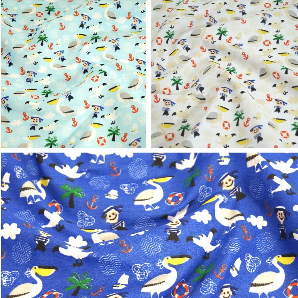 Polycotton Fabric Sailing Nautical Birds Anchors Sailor Boy Pelcan White