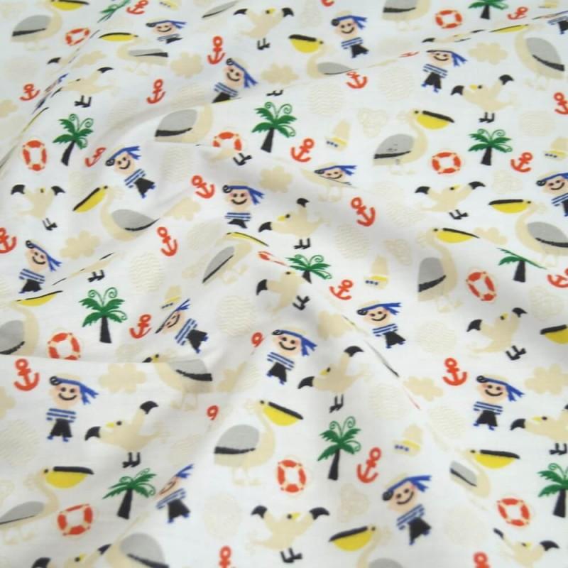 Polycotton Fabric Sailing Nautical Birds Anchors Sailor Boy Pelcan White