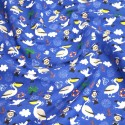 Polycotton Fabric Sailing Nautical Birds Anchors Sailor Boy Pelcan Royal Blue