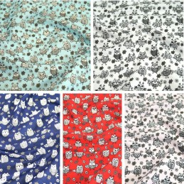 Polycotton Fabric Hooting Owls & Floral Flowers