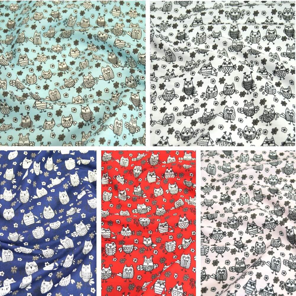 Polycotton Fabric Hooting Owls & Floral Flowers Red