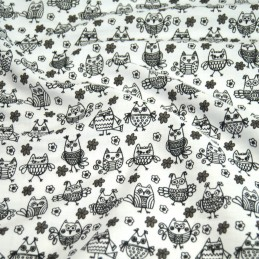 Polycotton Fabric Hooting Owls & Floral Flowers White