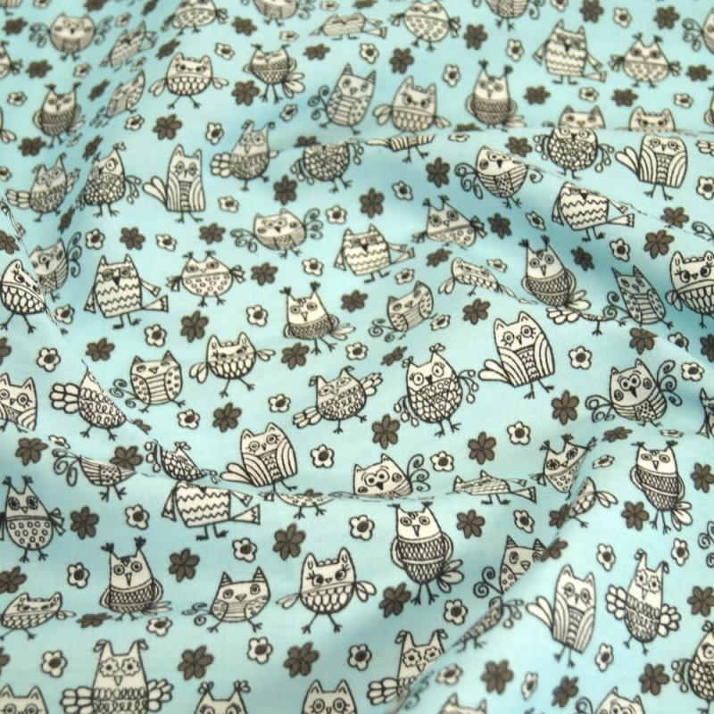Polycotton Fabric Hooting Owls & Floral Flowers Sky Blue