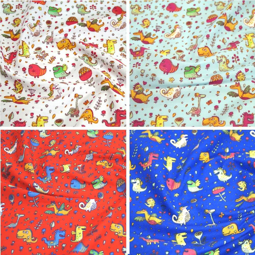 Polycotton Fabric Dinosaurs & Dragons, Floral Flowers White