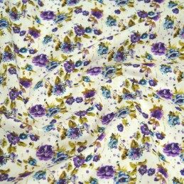 Polycotton Fabric Peony Floral Flowers Lilac