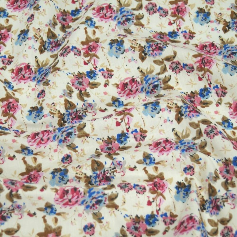 Polycotton Fabric Peony Floral Flowers Pink