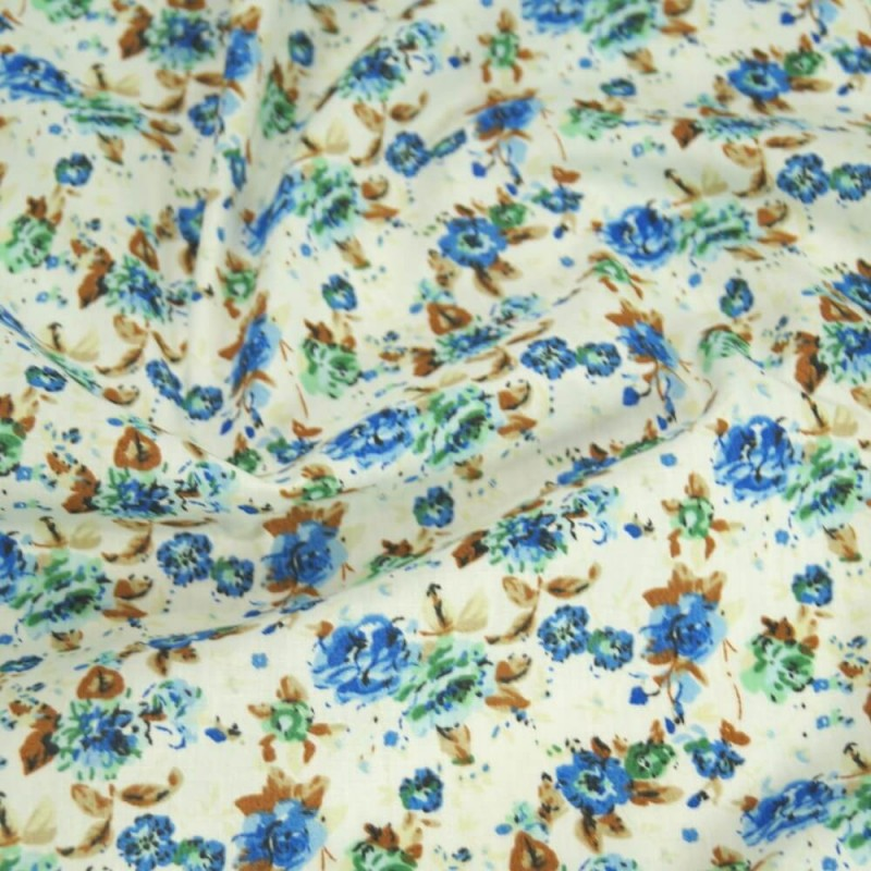 Polycotton Fabric Peony Floral Flowers Blue