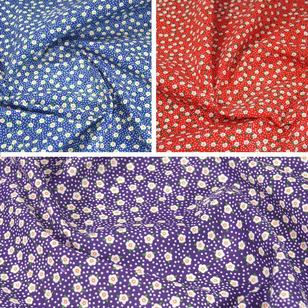 Flowerheads and Spots Polycotton Fabric Red