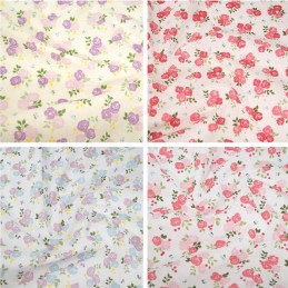 Polycotton Fabric Bunched Summer Roses Floral Flowers
