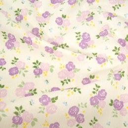 Polycotton Fabric Bunched Summer Roses Floral Flowers Lilac