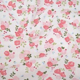 Polycotton Fabric Bunched Summer Roses Floral Flowers Light Pink