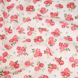 Polycotton Fabric Bunched Summer Roses Floral Flowers Cerise