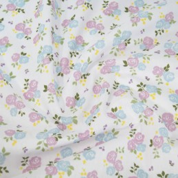 Polycotton Fabric Bunched Summer Roses Floral Flowers Light Blue