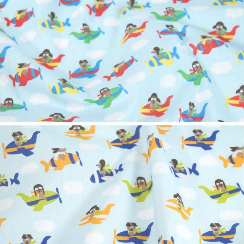 Polycotton Fabric Flying Aeroplanes Dogs Puppy Nursery Kids