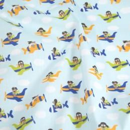 Polycotton Fabric Flying Aeroplanes Dogs Puppy Nursery Kids Orange