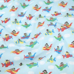 Polycotton Fabric Flying Aeroplanes Dogs Puppy Nursery Kids Red