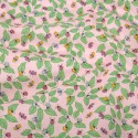 Polycotton Fabric Ladybirds Ladybugs on Leaves Pink
