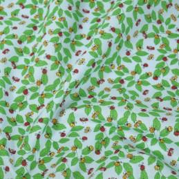Polycotton Fabric Ladybirds Ladybugs on Leaves Sky Blue