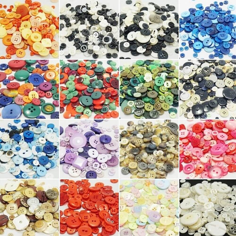 Assorted Mixed Plastic Buttons Navy