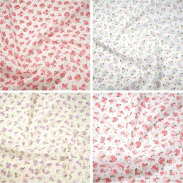 Polycotton Fabric Roses Bouquet Floral Flowers Plants Garden