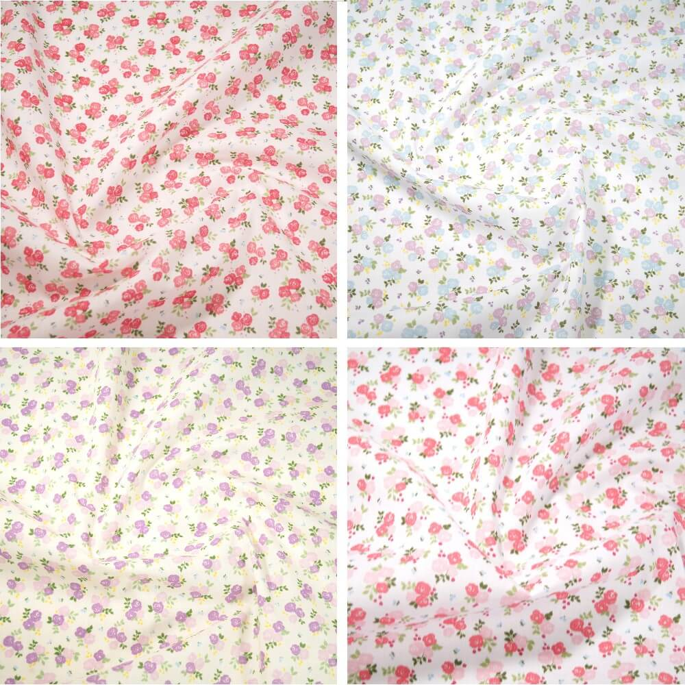 Polycotton Fabric Roses Bouquet Floral Flowers Lilac