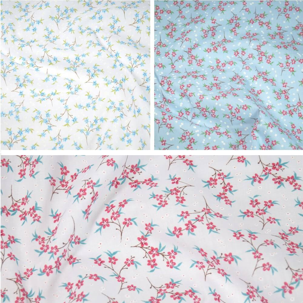 Polycotton Fabric Zinnia Floral Flowers Vines Light Blue
