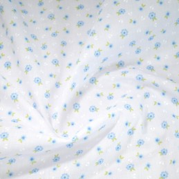 Polycotton Fabric Antonio Floral Flowers Vines Blue