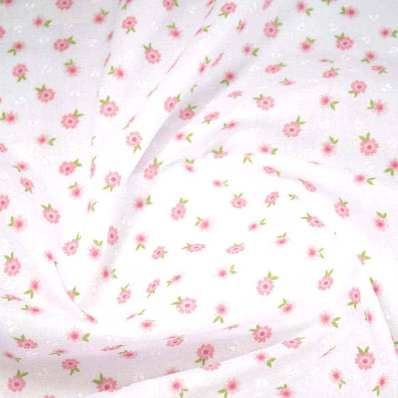 Polycotton Fabric Antonio Floral Flowers Vines Pink