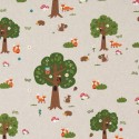 Cotton Rich Linen Fabric Curtain & Upholstery Forest Animals