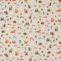 Cotton Rich Linen Fabric Curtain & Upholstery Forest Friends