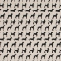 Cotton Rich Linen Fabric Curtain & Upholstery Dogs Black