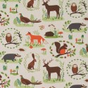 Cotton Rich Linen Fabric Curtain & Upholstery Woodland Animals