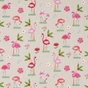 Cotton Rich Linen Fabric Curtain & Upholstery Flamingo Palms
