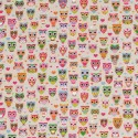 Cotton Rich Linen Fabric Curtain & Upholstery Owls & Hearts