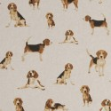 Cotton Rich Linen Fabric Curtain & Upholstery Classic Dogs