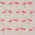 Cotton Rich Linen Fabric Curtain & Upholstery Love Flamingos