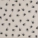 Cotton Rich Linen Fabric Curtain & Upholstery Black Swallows