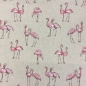 Cotton Rich Linen Fabric Curtain & Upholstery Flamingos