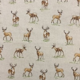 Cotton Rich Linen Fabric Curtain & Upholstery Stags