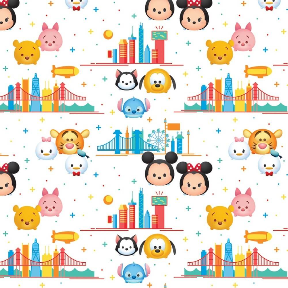 100% Cotton Patchwork Fabric Springs Creative Disney Tsum Tsum Travel