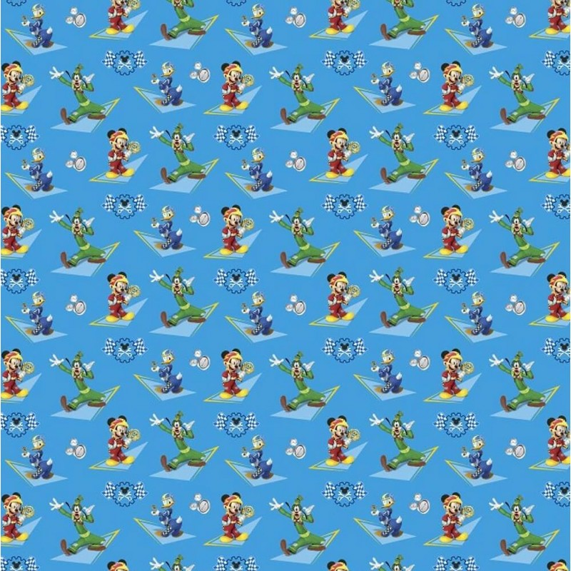 100% Cotton Patchwork Fabric Springs Creative Disney Mickey & Friends Racers