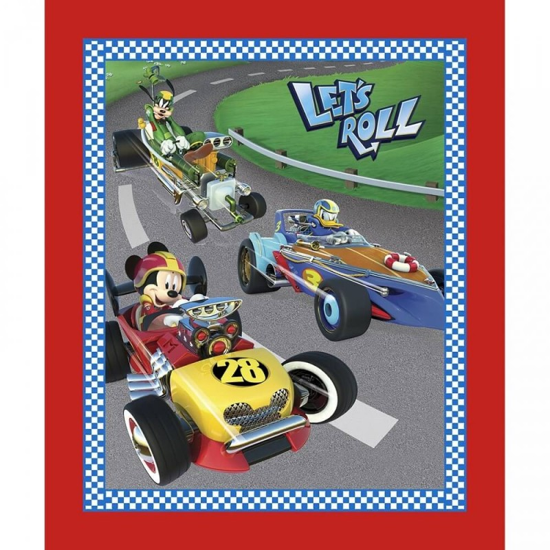 100% Cotton Patchwork Fabric Springs Creative Disney Mickey Let's Roll Panel