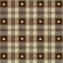 Vinyl PVC Tablecloth Easy Wipe Clean Heart Check Brown