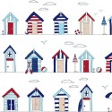 Vinyl PVC Tablecloth Easy Wipe Clean Beach Huts White