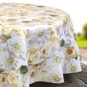 Vinyl PVC Tablecloth Easy Wipe Clean White Roses