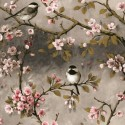 Vinyl PVC Tablecloth Easy Wipe Clean Blossom Birds