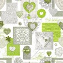 Vinyl PVC Tablecloth Easy Wipe Clean Love Patchwork Lime
