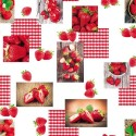 Vinyl PVC Tablecloth Easy Wipe Clean Strawberry Gingham