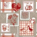 Vinyl PVC Tablecloth Easy Wipe Clean Farm Life Red