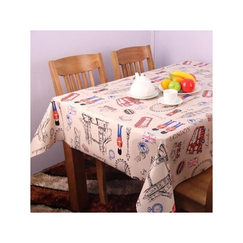 Vinyl PVC Tablecloth Easy Wipe Clean London City